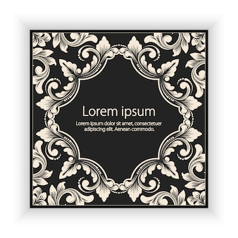 Vector floral and geometric monogram frame on dark gray