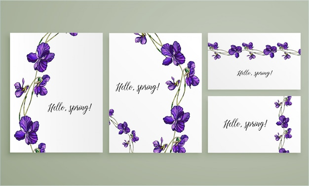 Vector floral greeting card set with violets flowers.