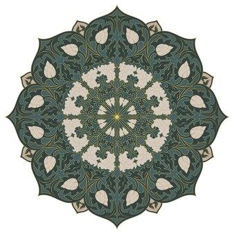 벡터 꽃 만다라입니다. 녹색 디자인 요소입니다. 동양의 우아한 장식.