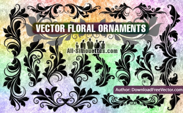 Vector floral ornaments silhouettes