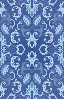 ベクトルの花柄。抽象的な青い飾り。テキスタイル、壁紙、カーペットのテンプレート。