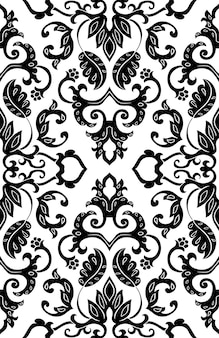 ベクトル花柄。抽象的な細線細工の飾り。テキスタイル、カーペット用の黒と白のテンプレート。