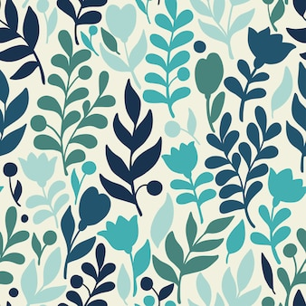 Vector floral pattern in doodle style with flowers and leaves