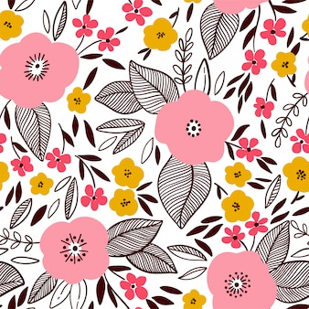 Vector floral pattern in doodle style with flowers and leaves.