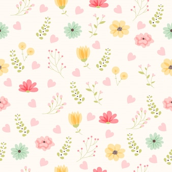 Vector floral pattern in doodle style