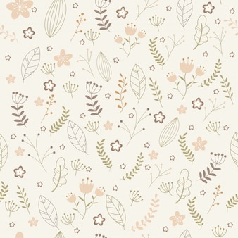 Vector floral pattern in doodle style.