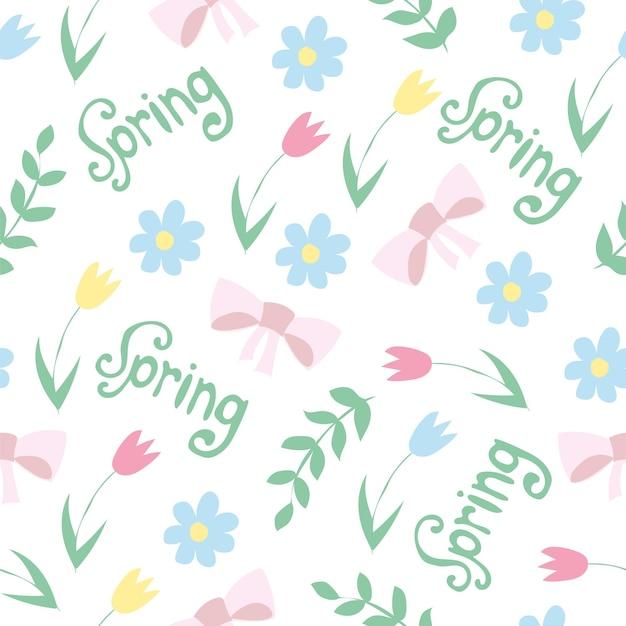 花と葉の落書きスタイルで花柄をベクトルします。穏やかな、春の花の背景。