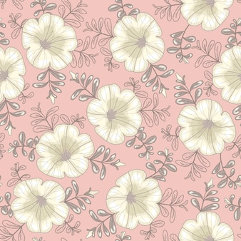 Vector floral pattern. seamless texture with white petunia flowers on a light pink background.