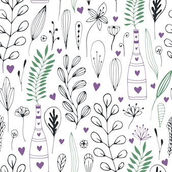 落書き花と葉のベクトル花柄。ラッピングやテキスタイルデザインのための春の自然のプリント。