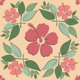 Vector floral pattern with red flowers and green leaves