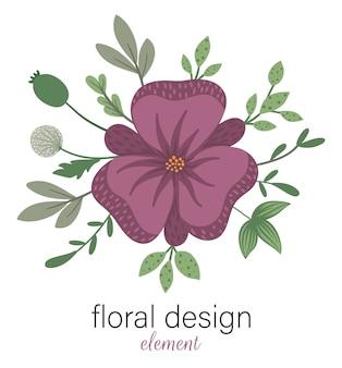 ベクターの花の丸い装飾的な要素。花、葉、枝を持つフラットなトレンディなイラスト。牧草地、森林、森林クリップアート。白で隔離される美しい春または夏の花束