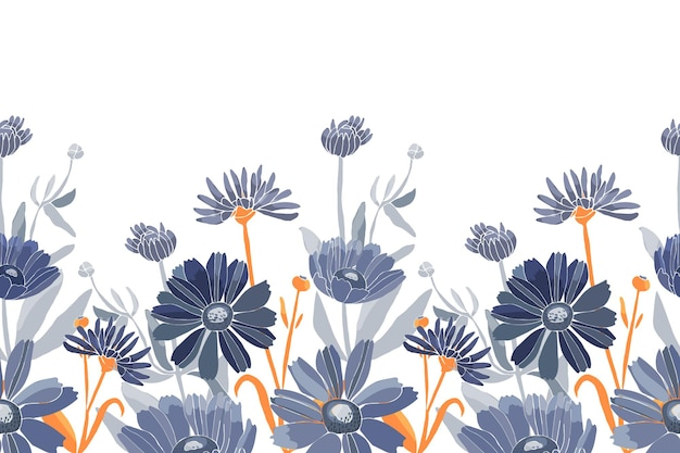 Vector floral seamless pattern blue flowers isolated on a white background decorative border