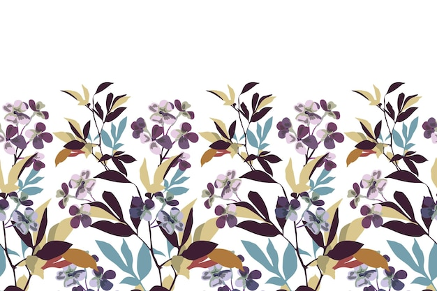 벡터 꽃 원활한 패턴 테두리 섬세 한 보라색 꽃 가지 잎