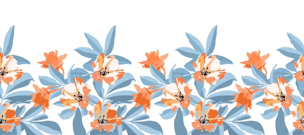 Vector floral seamless pattern, border. orange, white flowers, blue branches and leaves isolated on white background. for decorative design of any surfaces.