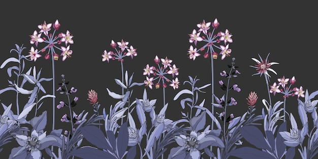 Vector floral seamless pattern, border with pink and purple flowers, blue and violet herbs. vector plant isolated on a dark grey background. garden at night.