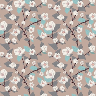 Vector floral seamless pattern, delicate flowers and twigs with leaves and branches.