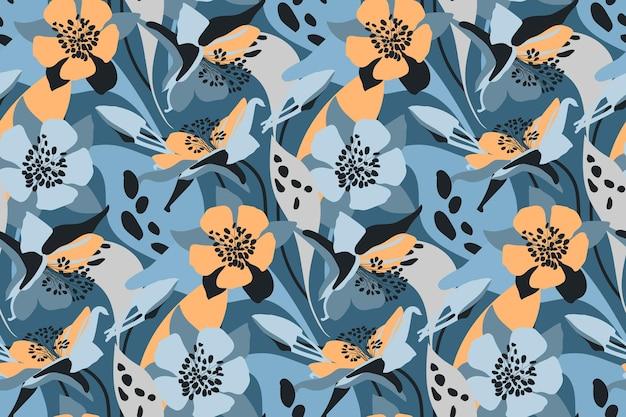 벡터 꽃 원활한 패턴 꽃 배경 오렌지 블루 꽃 봉 오리 잎