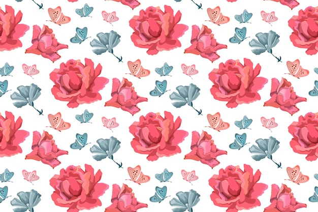 ベクトル花のシームレスなパターン。ピンクのバラ、青い庭の花と白の蝶と花の背景。