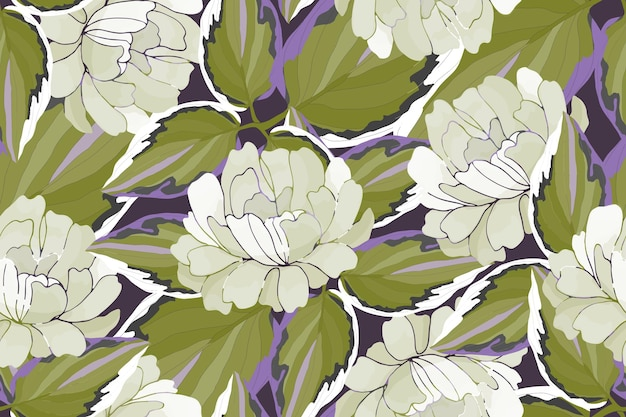Vector floral seamless pattern garden flowers leaves isolated on a purple background