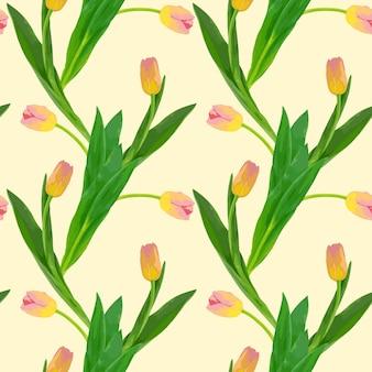 밝은 배경에 노란색 핑크 튤립의 벡터 꽃 원활한 패턴