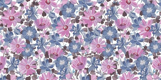 ベクトル花のシームレスなパターン。パステルの花と葉。ピンク、青、紫の花の要素は、白い背景で隔離。あらゆる表面の装飾デザインに。