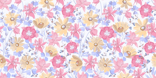 Vector floral seamless pattern. pastel flowers and leaves