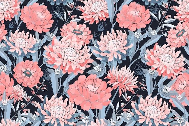 Вектор цветочный фон. розовые астры, хризантемы, циннии, синие стебли и листья. осенние цветы.
