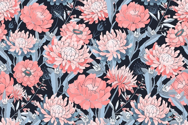 Vector floral seamless pattern. pink asters, chrysanthemums, zinnias, blue stems and leaves. autumn flowers.