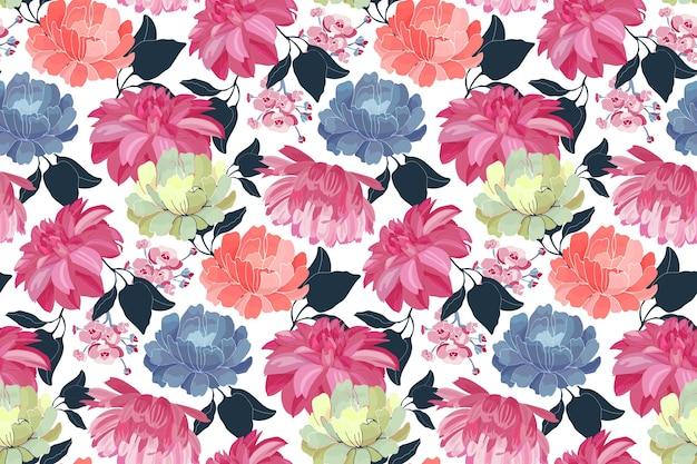 벡터 꽃 완벽 한 패턴입니다. 분홍색, 파란색, 노란색, 산호 색 꽃, 흰색 배경에 고립 된 푸른 잎.
