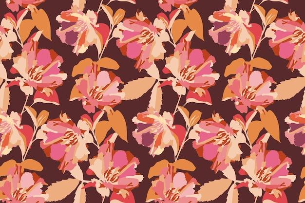 벡터 꽃 원활한 패턴 핑크 꽃 오렌지 초콜릿 배경에 고립 된 나뭇잎