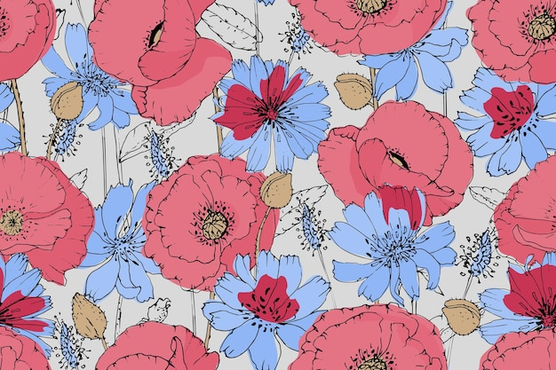 Vector floral seamless pattern. pink, red poppies, blue chicory. summer flowers.