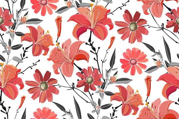 Vector floral seamless pattern red lilies daylilies wormwood quinoa grey leaves