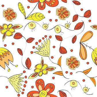 抽象的な花が咲くベクトル花のシームレスなパターン