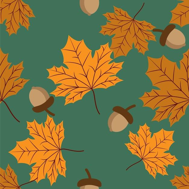 Векторные цветочные бесшовные модели с осенние листья и желудь.