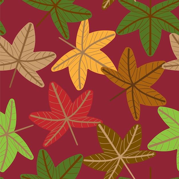 Векторные цветочные бесшовные модели с осенними листьями.