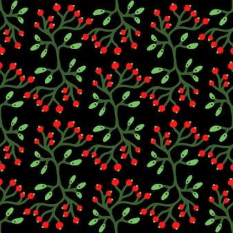 Векторный цветочный бесшовные модели с ягодами, ветвями и листьями