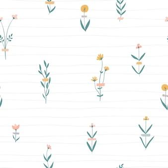 Вектор цветочный фон с цветами на клетках