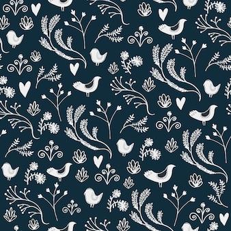 Вектор цветочный фон с листьями, птицами и цветами. используйте в качестве фона, дизайнерского украшения, обоев, ткани и т. д. рисованной, каракули иллюстрации