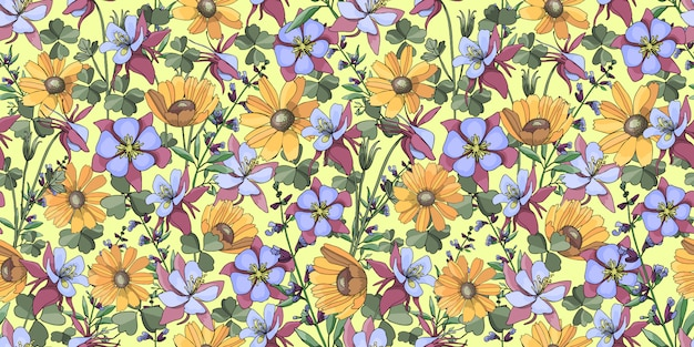 Vector floral seamless pattern with yellow gaillardia.