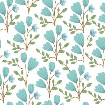 ベクターの花のシームレスな空間。手には、青い鈴花と葉の平らなシンプルなイラストが描かれました。草原、森林、森林植物との繰り返しパターン。