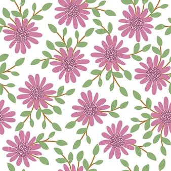ベクターの花のシームレスな空間。手は、花と葉でフラットなシンプルなイラストを描いた。草原、森林、森林植物との繰り返しパターン。