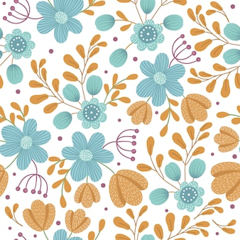 Vector floral seamless space. hand drawn flat simple illustration with orange and blue flowers and leaves. repeating pattern with meadow, woodland, forest plants.