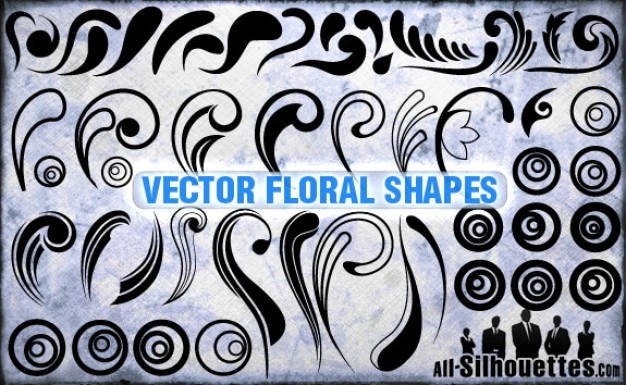Vector floral shapes silhouettes