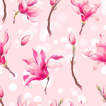 Vector floral spring seamless pattern