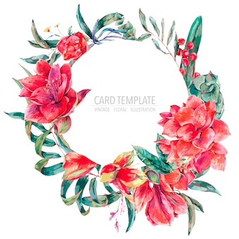 Vector floral template card of red flowers, amaryllis, eucalyptus, tropical leaves and succulents, botanical natural vintage round frame