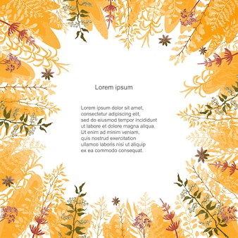Vector floral template. hand draw frame. can be used for invitation, greeting card, poster, banner