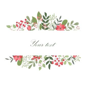 Вектор цветочный шаблон с местом для текста. ботаническая иллюстрация