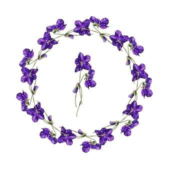 Vector floral wreath of violets flowers.