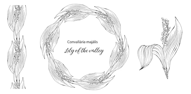 Vector floral wreath with flowers of lily of the valley bouquet landsa.