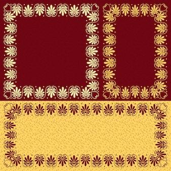ベクトルフローラルゴールドギリシャの飾り(ミアンダー)